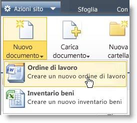 Visualizzazione dei tipi di contenuto nel menu Nuovo per un elenco o una raccolta.
