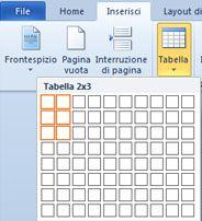 Inserisci tabella