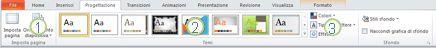 Scheda Progettazione sulla barra multifunzione di PowerPoint 2010