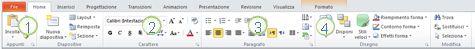 Scheda Home sulla barra multifunzione di PowerPoint 2010