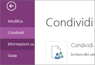 Comando Condividi in OneNote Online