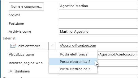 Aggiungere un indirizzo di posta elettronica supplementare per un contatto