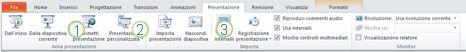 Scheda Presentazione sulla barra multifunzione di PowerPoint 2010