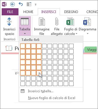 Inserire una tabella in OneNote.