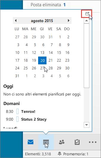 Anteprima del calendario con l'icona Ancoraggio evidenziata