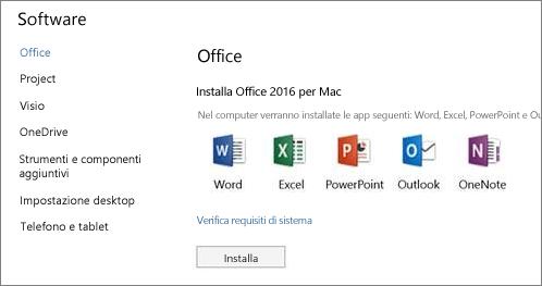 Schermata di installazione del software Impostazioni di Office 365 in un Mac