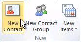 리본 메뉴의 새 연락처 명령