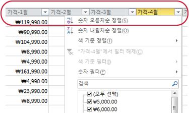 Excel 표의 열 머리글에 표시된 자동 필터