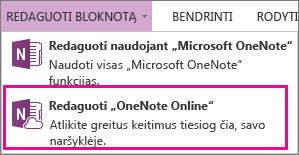 """Bloknoto redagavimas programoje """"OneNote Online"""""""