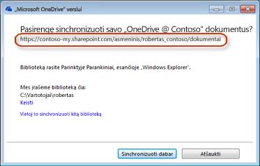 """""""OneDrive"""" verslui vediklis su iš anksto užpildytu URL"""