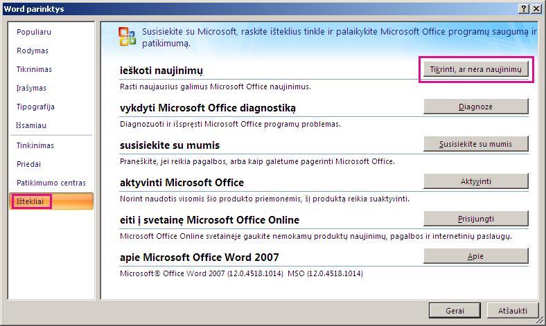 """""""Office"""" naujinimų paieška programoje """"Word 2007"""""""