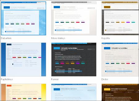 """""""Office 365"""" šablono pasirinkimo puslapis, kuriame rodomi viešosios svetainės išdėstymo ir temos pasirinktiniai šablonai"""
