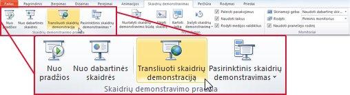"""Transliuoti skaidrių demonstravimą, grupėje Pradėti skaidrių demonstravimą, skirtuke Skaidrių demonstravimas, """"PowerPoint 2010""""."""