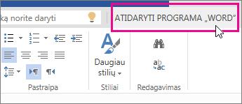 """""""Word Online"""" komanda Atidaryti programa """"Word"""" redagavimo rodinyje"""