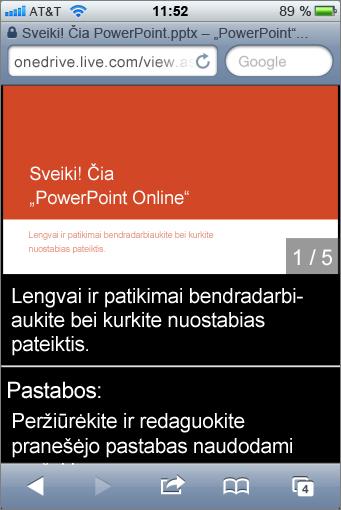 """Mobiliojo įrenginio """"PowerPoint"""" peržiūros programos skaidrės ir kalbėtojo pastabos"""