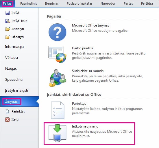 """Neautomatinė """"Office"""" naujinimų paieška programoje """"Word 2010"""""""