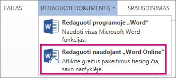 """Komandos Redaguoti programoje """"Word Web App"""" vaizdas"""