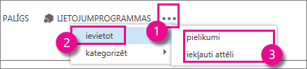 Poga Citas darbības programmā Outlook Web App