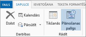 Plānošanas asistenta poga programmā Outlook 2013.
