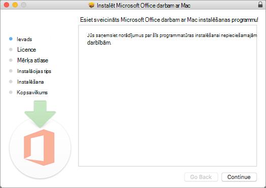 """Pirmais Mac 2016 instalēšanas ekrāns ar iezīmētu opciju """"Turpināt"""""""