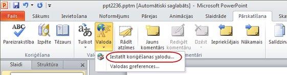 PowerPoint lentes pārskatīšanas cilnes valodas iestatīšanas komanda