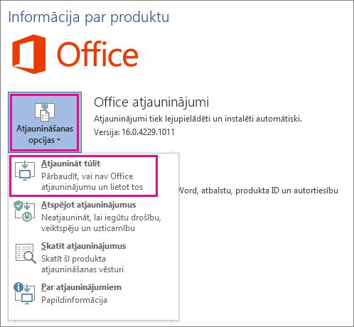 Office atjauninājumu manuāla meklēšana programmā Word2016