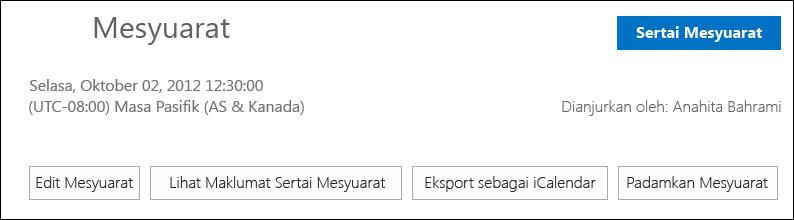 Petikan skrin kotak Mesyuarat dengan opsyen eksport sebagai iCalendar
