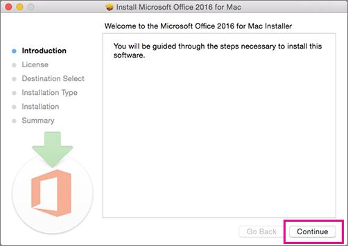 """Skrin pemasangan Mac 2016 pertama dengan """"Teruskan"""" diserlahkan"""