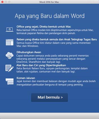Skrin Perkara Baru apabila anda memulakan aplikasi Office yang anda baru sahaja pasang