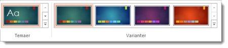 Kategorien Utforming: temaer med varianter