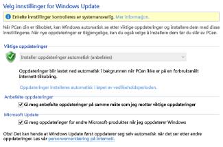 Innstillinger for Windows Update i kontrollpanelet i Windows 8