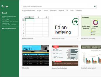 Noen av malene som er tilgjengelige i Excel