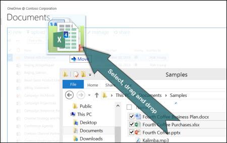 Dra og slipp for å laste opp filer til OneDrive