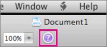Klikk spørsmålstegnet for å åpne Hjelp i Mac Office.