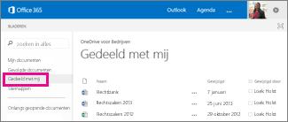 Schermafbeelding van documenten die anderen met u hebben gedeeld in de weergave Gedeeld met mij in OneDrive voor Bedrijven.