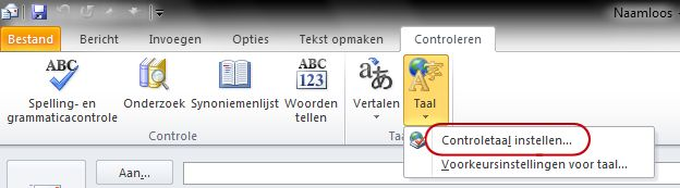 Taal op tabblad Controleren van Outlook-lint