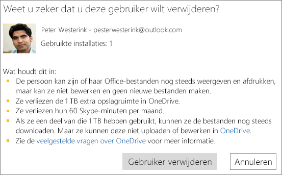 Screenshot of the confirmation dialog box when you remove a user from your Office 365 Home subscription.