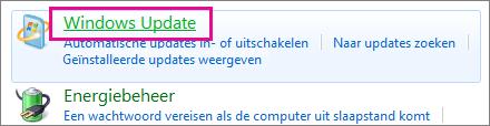 De koppeling Windows Update in het Configuratiescherm
