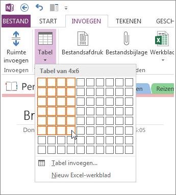 Voeg een tabel in OneNote in.