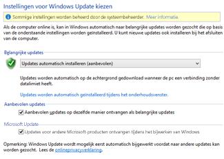 De Windows Update-instellingen in het Configuratiescherm van Windows 8
