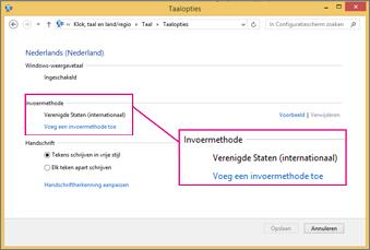 Invoermethode toevoegen in Office 2016 Windows 8