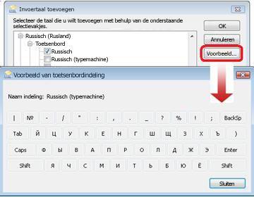 Het dialoogvenster Invoertaal toevoegen met het toetsenbord voor Russisch