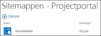 Selecteer een site in de lijst Sitemappen in Office 365 om de documentbibliotheken op die site te zien.