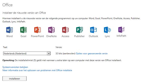De pagina voor het installeren van de nieuwste versie van Office