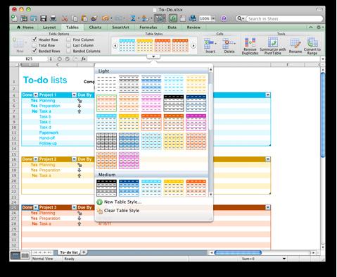 Excel-werkmap met opties voor tabelstijlen