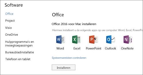 Het scherm om Office 365-software te installeren op een Mac
