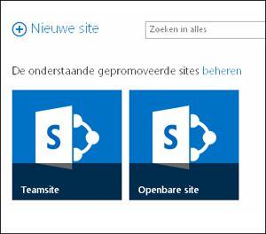 Pagina Office 365-sites met de tegels voor Teamsite en Openbare website