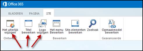 Het lint op het tabblad Site van de openbare website, met knoppen voor Het uiterlijk wijzigen, Titel bewerken en Logo wijzigen