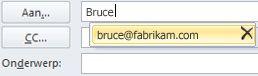 Lijst voor automatisch aanvullen met het pictogram Verwijderen