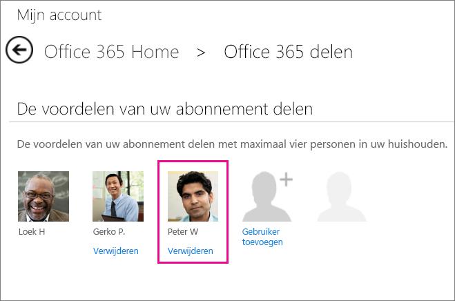 Schermafbeelding van de pagina Office 365 delen, waarop de optie Gebruiker verwijderen is geselecteerd.